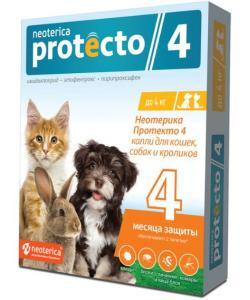 Neoterica Protecto Капли от блох и клещей для кроликов, кошек и собак до 4 кг, 2 шт.
