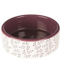 Миска керамическая, 0.3 л/o 12 см, белый/ягодный (25123)
