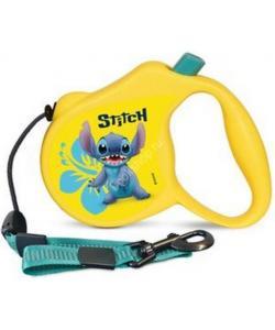Поводок-Рулетка Stitch  М  5м до 20 кг (трос) жёлтый (WD1006)