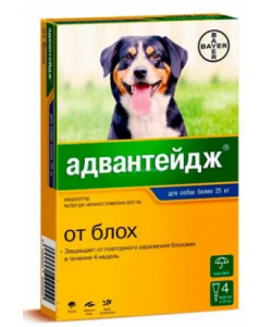 Адвантейдж капли от блох для собак более 25 кг, 4 пипетки по 4мл