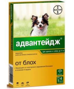 Адвантейдж капли от блох для собак до 4 кг, 4 пипетки по 0,4мл