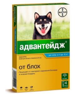 Адвантейдж капли от блох для собак от 4 до 10 кг, 4 пипетки по 1 мл