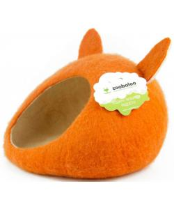 """Домик-слипер для животных """"WoolPetHouse"""" с ушками, шерсть, , оранжевый, 40x40x20см"""