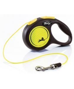 Рулетка-трос светоотражающая для собак до 8кг, 3м, желтая (New Neon XS Cord 3m yellow)