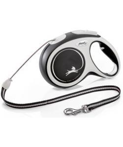 Рулетка-трос для собак до 20кг, 8м, черная (New Comfort M Cord 8m black)