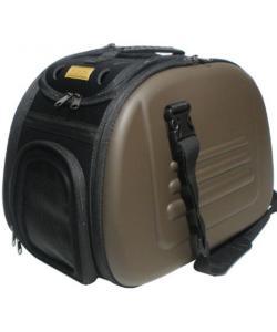 Складная сумка-переноска для собак и кошек до 6 кг коричневая 46*32*30 см