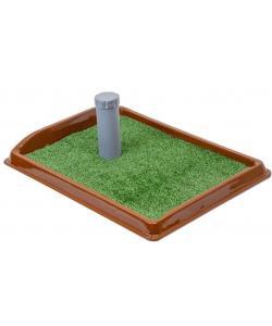 """Туалет для собак со столбиком прямоугольный, серия """"Рокки"""" с искусственной травой 55*40см"""