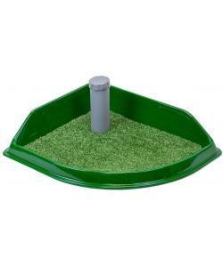 """Туалет для собак со столбиком угловой, серия """"Рокки"""" с искусственной травой 50*43см"""