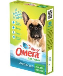 """Омега Neo +  Мультивитаминное лакомство для собак """"Свежее дыхание """" с мятой и имбирем, 90 таб."""