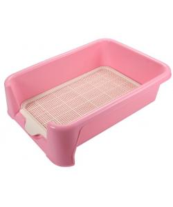 Туалет для собак с сеткой 40*40*15см, розовый (Р587)
