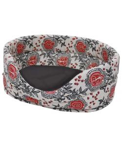Лежанка лен и мебельная ткань овальная для собак и кошек черная