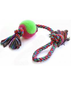 Игрушка для собак. Верёвка цветная с мячом с двумя узлами 43см (0144XJ)