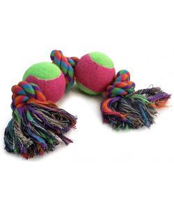 Игрушка для собак. Верёвка, 3 узла и 2 мяча, 26 см (0070XJ)
