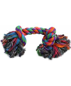 """Игрушка для собак. Верёвка цветная """"Два узла"""" 15см (0020XJ)"""