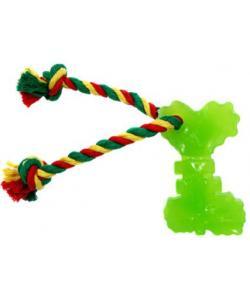 Игрушка для собак Ключ с канатом, резина, 10,5 см, зеленый