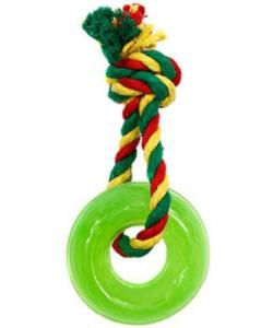 Игрушка для собак Кольцо мини с канатом, резина, 2,3*6,9 см, зеленое