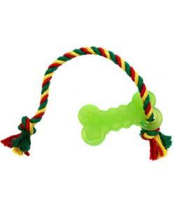 Игрушка для собак Кость малая с канатом, резина, 10,2 см, зеленая