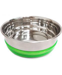Миска металлическая с салатовой резинкой, 0,3л