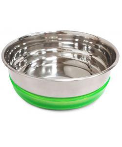 Миска металлическая с салатовой резинкой, 0,8л
