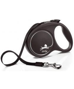 Рулетка-ремень для собак до 50кг, 5м, черная (Black Design L Tape 5m black)