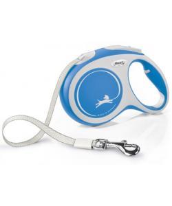 Рулетка-ремень для собак до 60кг, 5м, синяя (New Comfort L Tape 5m blue)