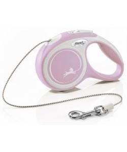 Рулетка-трос для собак до 8кг, 3м, розовая (New Comfort XS Cord 3m rose)