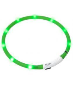 Ошейник с LED подсветкой, USB зарядкой 20-70 см,  зеленый