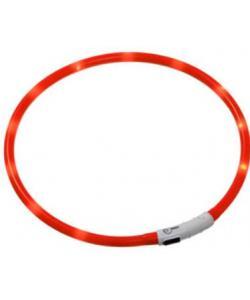 Ошейник с LED подсветкой, USB зарядкой 20-70 см, оранжевый