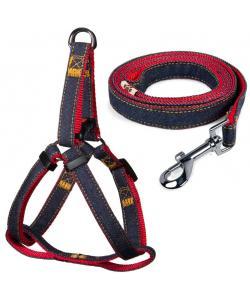 Комплект шлейка 2*45-60см и поводок 2*120см, джинсовый, красный