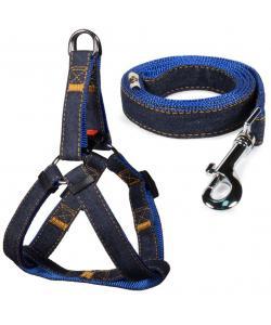 Комплект шлейка 2*45-60см и поводок 2*120см, джинсовый, синий