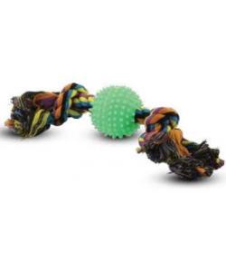 """Верёвка цветная """"Два узла"""" с мячом игольчатым 17 см (0057XJ)"""