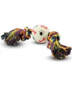 """Верёвка цветная """"Два узла"""" с мячом косточки-лапки 17 см (0058XJ)"""